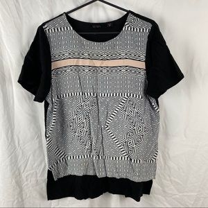 Women's Wish Black & White Abstract Short Sleeve Pullover Blouse Size 12/M